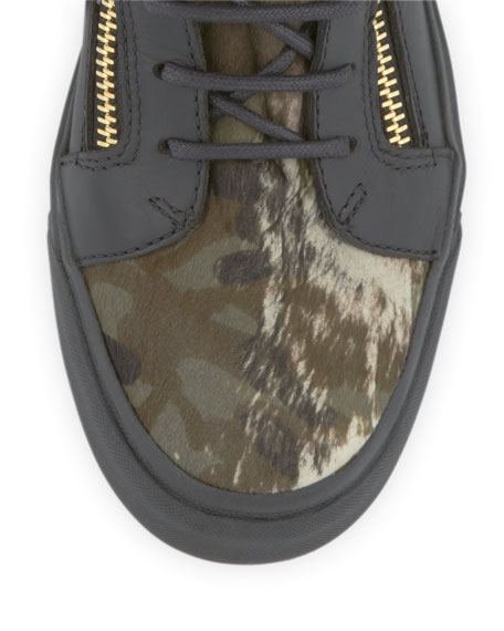 Eagle Medallion Camo Calf Hair Hi-Top Sneaker