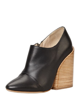Chloe Wide-Heeled Pointy Bootie, Black