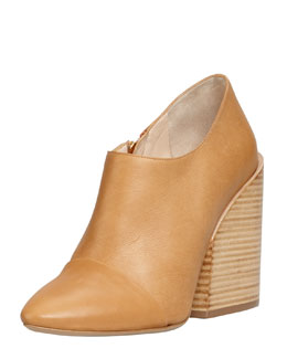 Chloe Wide-Heeled Pointy Bootie, Tan