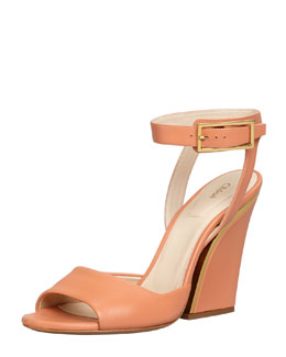 Chloe Thick-Heeled Ankle-Wrap Sandal, Coral Reef