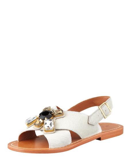 cf1937430 Marni Jeweled Calf Hair Sandal