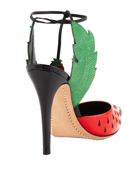 Strawberry Daiquiri Ankle-Wrap Pump