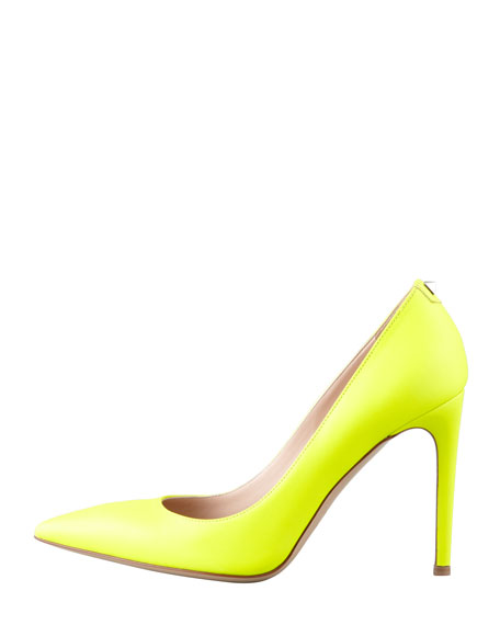 Leather Stud-Back Point-Toe Pump, Yellow