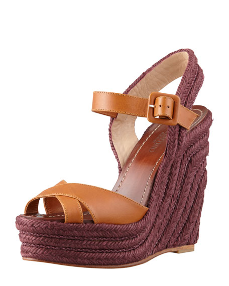 Crisscross Espadrille Wedge Sandal, Tan
