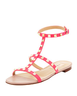 Valentino Rockstud Single-Wrap Gladiator Sandal, Pink
