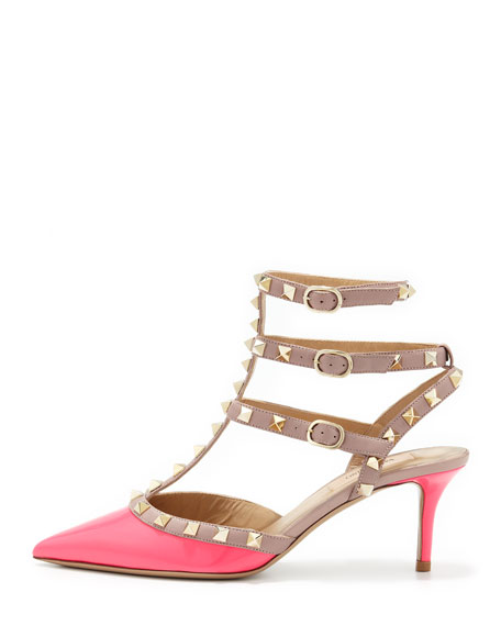 Rockstud Patent Low-Heel Slingback, Pink