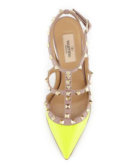 Rockstud Two-Tone Slingback Sandal, Yellow