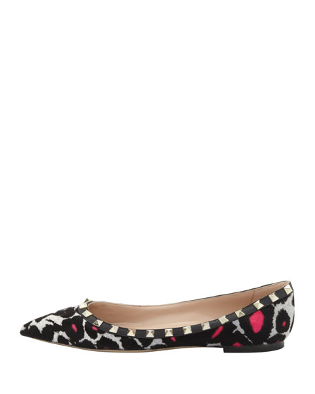 Rockstud Calf Hair Ballerina Flat, Leopard Pink
