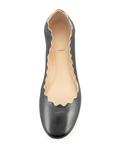 Scalloped Calfskin Ballerina Flat, Black