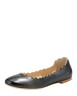 Scalloped Calfskin Ballerina Flat, Black