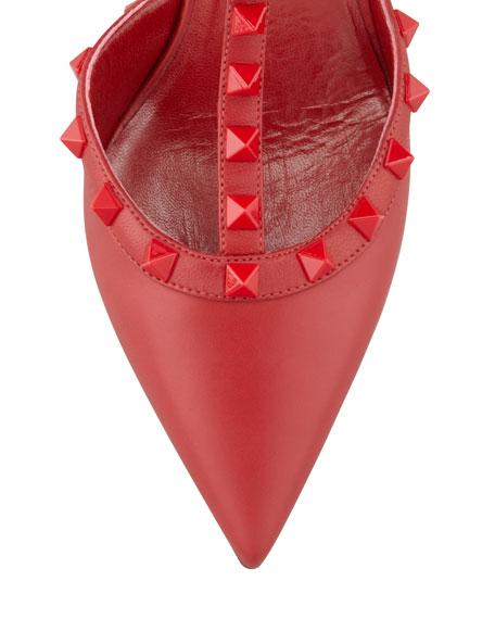 Rockstud Leather Slingback, Rouge