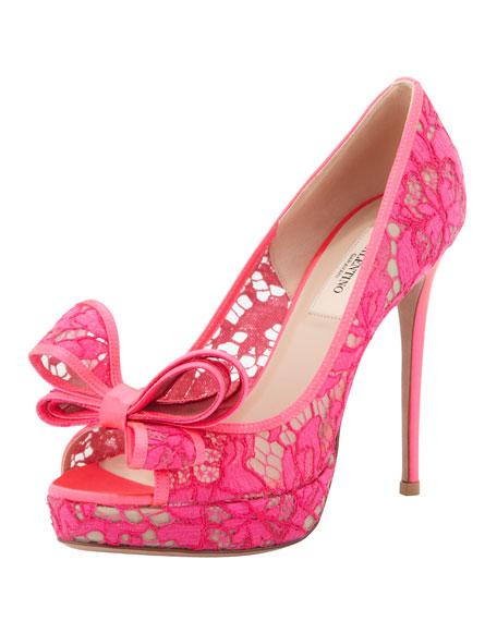 Peep-Toe Lace Bow Pump, Pink