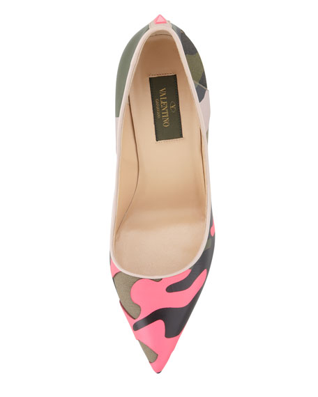 Rockstud Neon Camo Point-Toe Pump