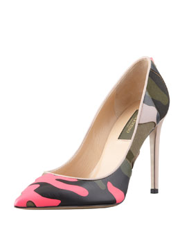 Valentino Rockstud Neon Camo Point-Toe Pump