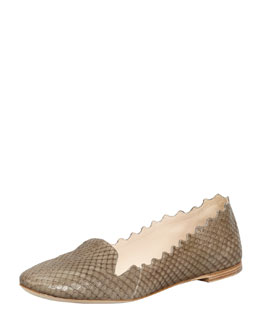 Chloe Scalloped Snakeskin Loafer, Military Green