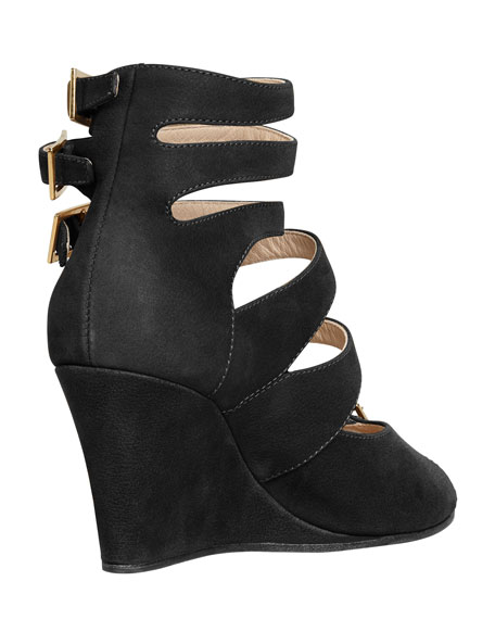 Multi-Buckled Strappy Sandal, Black