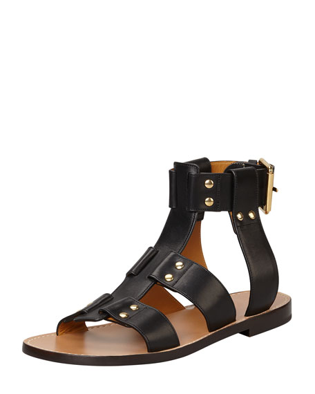 Flat Studded Leather Sandal, Black