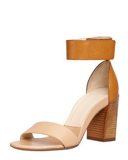 Chloe Stacked-Heel Ankle-Wrap Sandal, Teak/Apricot