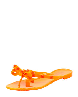 Valentino Rockstud PVC Bow Thong Sandal, Orange