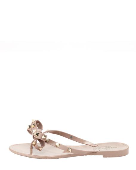 Rockstud PVC Thong Sandal, Nude