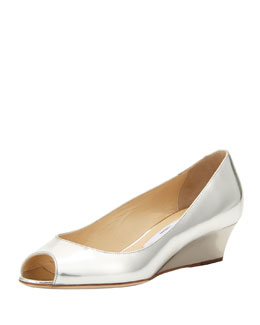 Jimmy Choo Bergen Peep-Toe Metallic Wedge, Silver