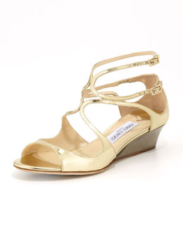 Jimmy Choo Inka Wedge Mirror Sandal, Gold