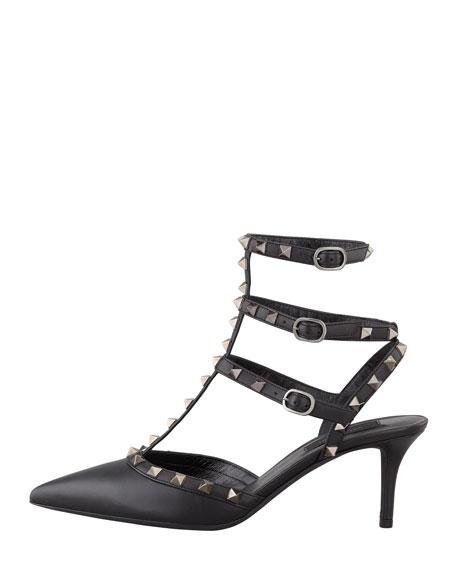 Rockstud Leather Low-Heel Slingback, Black