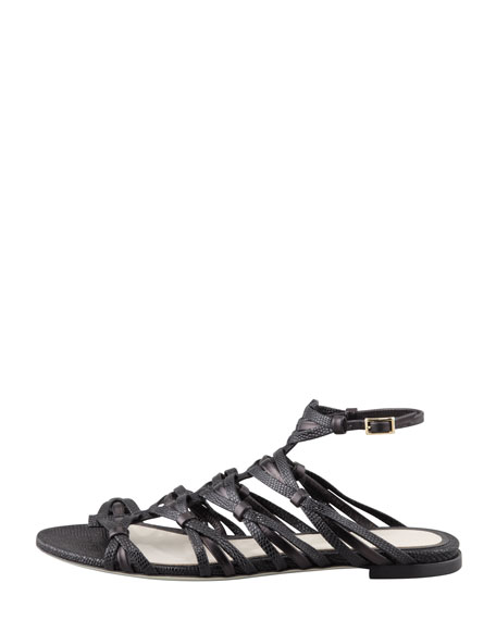 Strappy Flat Sandal, Black