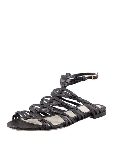 Strappy Flat Sandal, Black