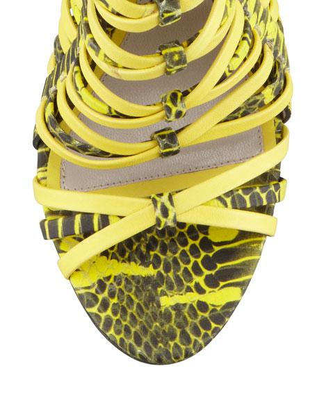 Snake-Print Strappy Cage Sandal