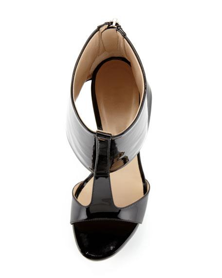 Ashlee Patent Leather Platform Sandal, Black