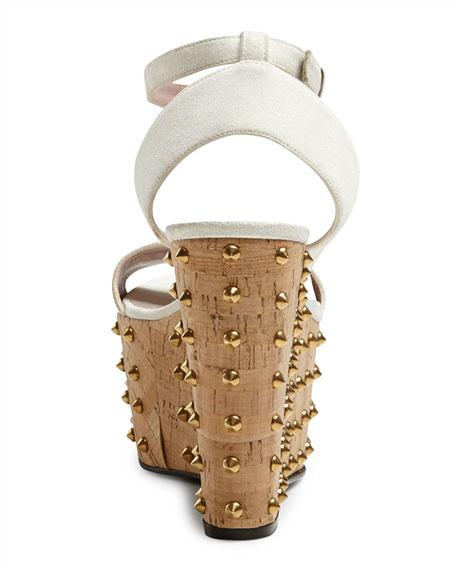 992ac7190c3 Gucci Lilianne Studded Suede Wedge Sandal