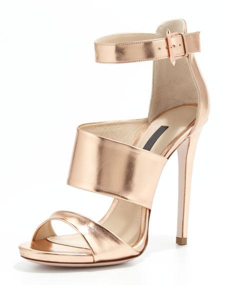 Metallic Triple-Strap Sandal, Rose Gold