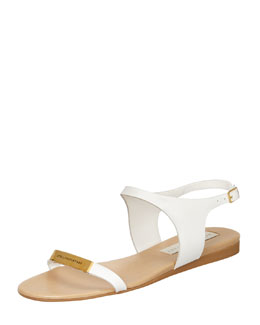 Stella McCartney Logo-Plaque Flat Sandals, White