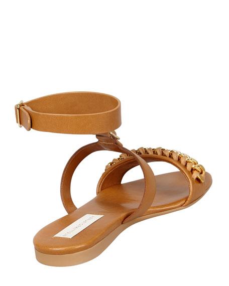 Removable-Cuff Flat Chain Sandal, Cognac