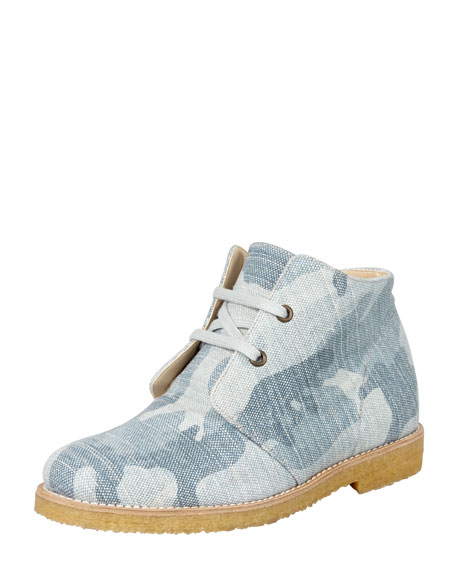 Camo Denim Lace-Up Boot, Blue