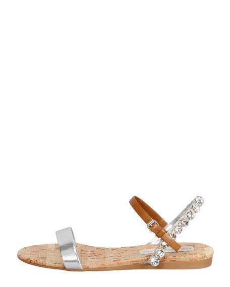 Crystal-Halter Flat Sandal, Silver/Tan