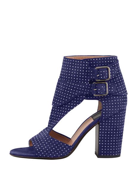 Studded Suede Sandal Bootie, Blue Ruthenium