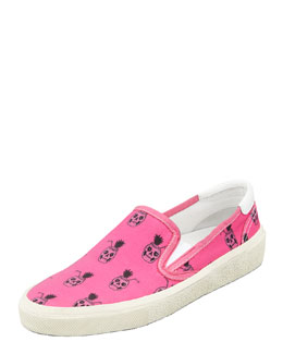 Saint Laurent Pinaskullada Slip-On Sneaker, Pink/Black