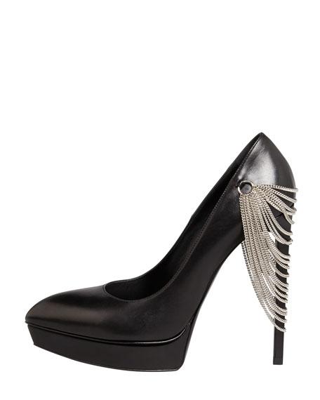 Janis Chain-Heel Pointed Pump, Black