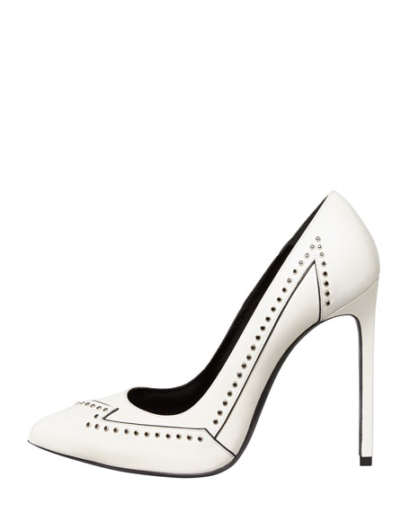 Janis Flash Studded Single-Sole Pump, White