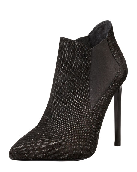 Paris Sequined Pointed Ankle Boot, Black