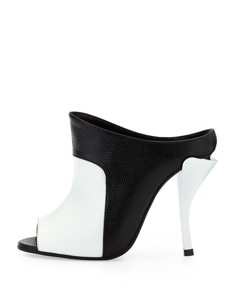 Patent/Faux-Lizard Peep-Toe Slide