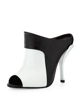 Fendi Patent/Faux-Lizard Peep-Toe Slide
