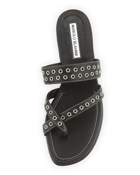 b65a903cf10d6 Manolo Blahnik Susaocc Leather Grommet Flat Thong Sandal, Black