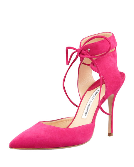 Lara Ankle-Wrap Pointy Suede d'Orsay, Fuchsia