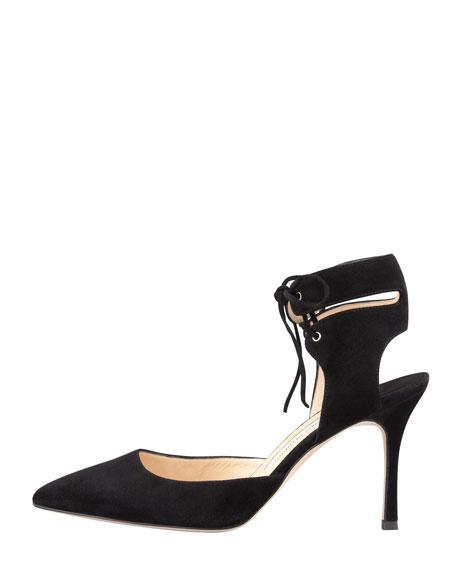 Lara Suede Ankle-Tie Pump, Black