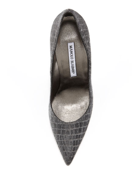 Metallic Croc-Print BB Pump, Gray/Silver