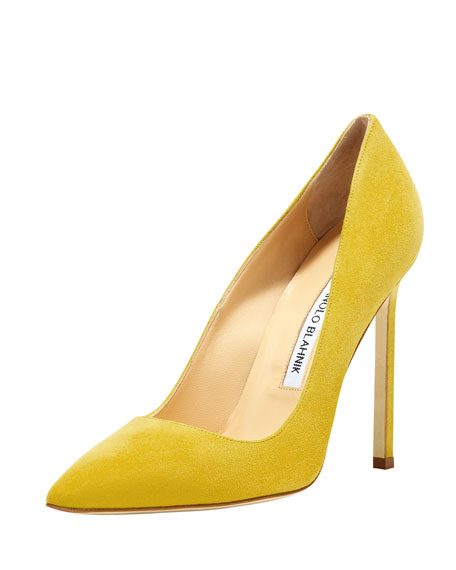 Bb Suede 115mm Pump, Limone by Manolo Blahnik