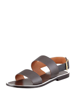 Marni Double Strap Leather Sandal, Ebony